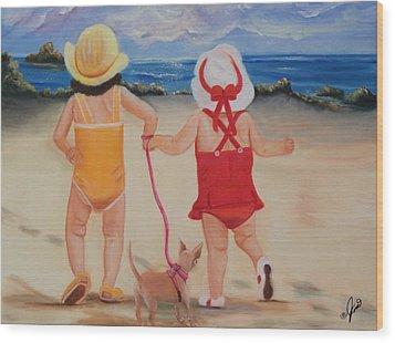 Three For The Beach Wood Print by Joni McPherson
