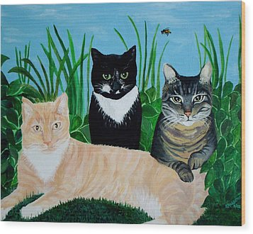 Wood Print featuring the painting Three Furry Friends by Elizabeth Robinette Tyndall
