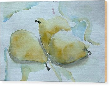 Three Gold Pears Wood Print by Mindy Newman