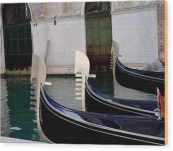 Wood Print featuring the photograph Three Gondolas by Nancy Bradley