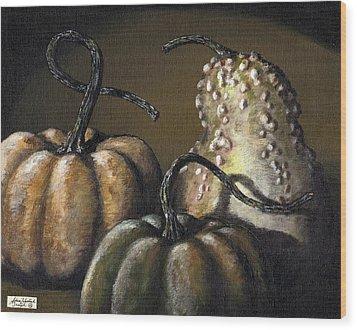 Three Gourds Wood Print by Adam Zebediah Joseph