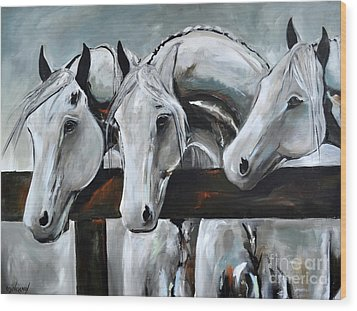 Wood Print featuring the painting Three Greys by Cher Devereaux