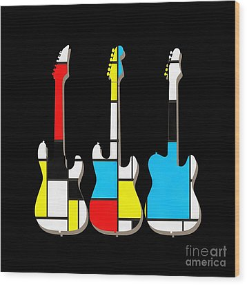 Three Guitars Modern Tee Wood Print