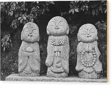 Three Happy Buddhas Wood Print