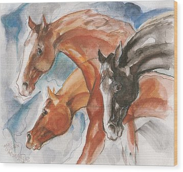 Three Horses Wood Print