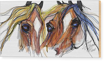 Three Horses Talking Wood Print by Stacey Mayer
