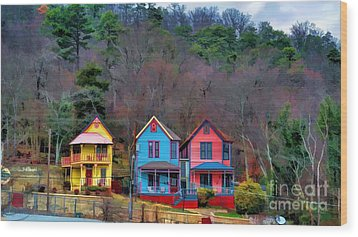Wood Print featuring the photograph Three Houses Hot Springs Ar by Diana Mary Sharpton