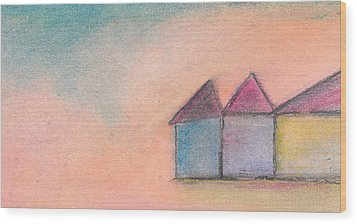 Three Houses Wood Print