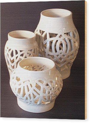 Three Interlaced Design Wheel Thrown Pots Wood Print by Carolyn Coffey Wallace