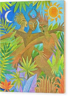 Three Jumbies Wood Print by Jennifer Baird