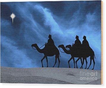 Three Kings Travel By The Star Of Bethlehem - Midnight Wood Print by Gary Avey