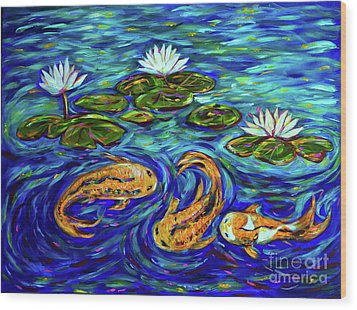 Three Koi And Lilies Wood Print