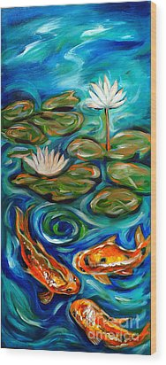 Wood Print featuring the painting Three Koi by Linda Olsen