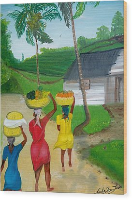 Three Ladies Going To The Marketplace Wood Print