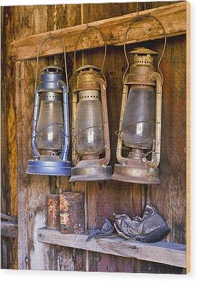 Three Lanterns And A Shoe Wood Print