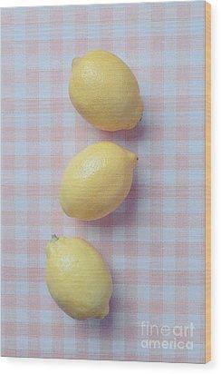 Three Lemons Wood Print