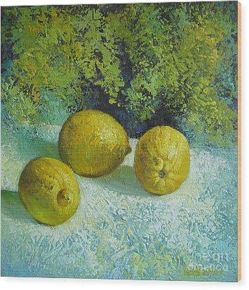 Wood Print featuring the painting Three Lemons by Elena Oleniuc