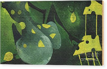 Three Lemons Wood Print