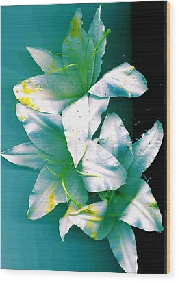 Wood Print featuring the photograph Three Lilies by Carolyn Repka