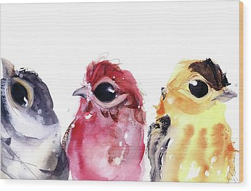 Wood Print featuring the painting Three Little Birds by Dawn Derman