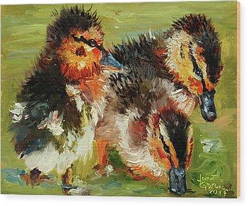 Three Little Ducks Wood Print by Janet Garcia