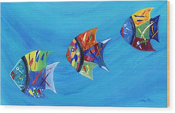 Wood Print featuring the painting Three Little Fishy's by Jamie Frier