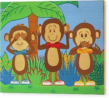 Three Monkeys No Evil Wood Print