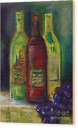 Three More Bottles Of Wine Wood Print by Frances Marino
