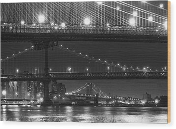 Three New York Bridges 2 Wood Print