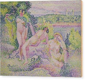 Three Nudes Wood Print by Henri Edmond Cross