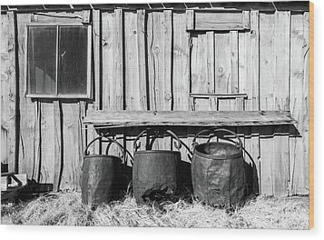 Three Old Buckets Wood Print