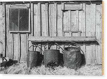 Three Old Buckets Wood Print