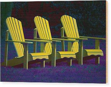 Three Old Friends Wood Print by Elisabeth Van Eyken