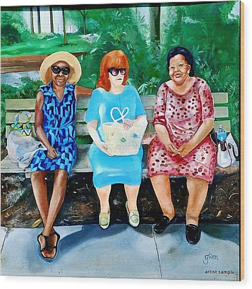 Three On A Bench Wood Print