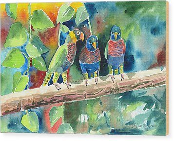 Three On A Branch Wood Print