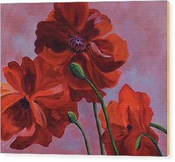 Three Oriental Poppies Wood Print