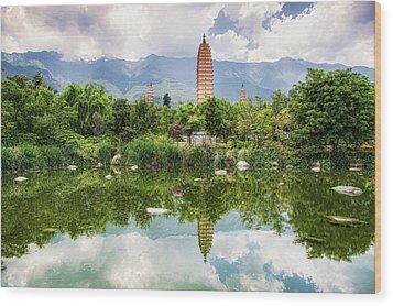 Wood Print featuring the photograph Three Pagodas by Wade Aiken