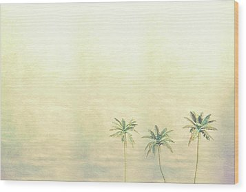 Three Palms In Color Wood Print