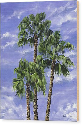Three Palms Wood Print by Lisa Reinhardt