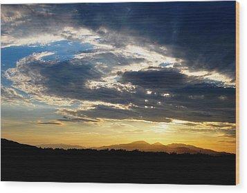 Three Peak Sunset Swirl Skyscape Wood Print