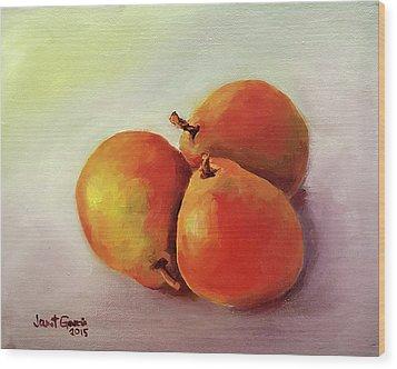 Three Pears Wood Print by Janet Garcia