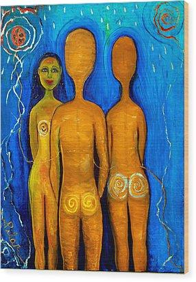 Three People Wood Print by Pilar  Martinez-Byrne