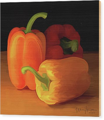 Three Peppers 01 Wood Print by Wally Hampton