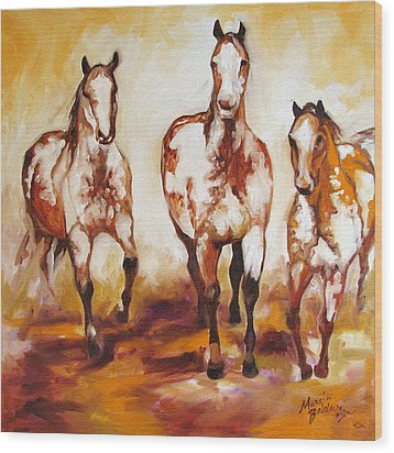 Three Pinto Indian Ponies Wood Print by Marcia Baldwin