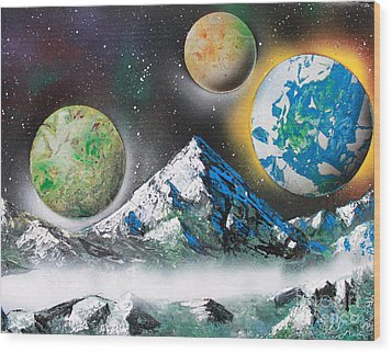 Wood Print featuring the painting Three Planets by Greg Moores