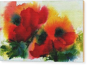 Three Poppies Wood Print by Anne Duke