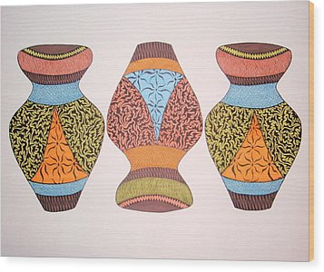 Wood Print featuring the drawing Three Pots by Beth Akerman