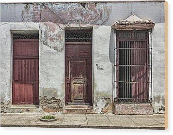 Three Red Doorways Wood Print by Dawn Currie