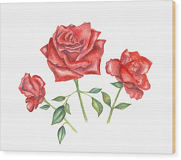 Wood Print featuring the mixed media Three Red Roses by Elizabeth Lock
