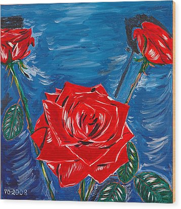 Three Red Roses Four Leaves Wood Print